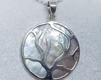 Mother of Pearl & Sterling Silver Flowing Tree Disk Necklace