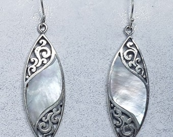 Mother of Pearl & Sterling Silver Marquise Earrings