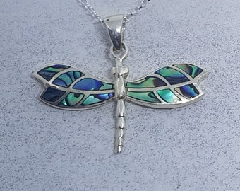 Abalone Shell & Sterling Silver Dragonfly Necklace