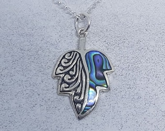 Abalone Shell & Sterling Silver Leaf Necklace
