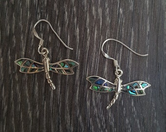 Abalone Shell & Sterling Silver Dragonfly Earrings