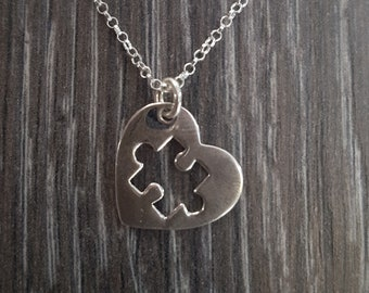 Sterling Silver Piece of My Heart Necklace