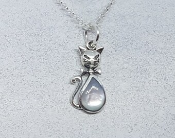 Mother of Pearl & Sterling Silver Cat Necklace