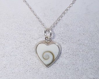 Shiva Eye & Sterling Silver Heart Inlay Necklace