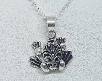 Sterling Silver Articulated Frog Necklace