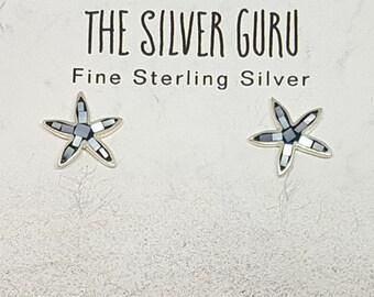 Black Shell & Sterling Silver Mosaic Starfish Stud Earrings
