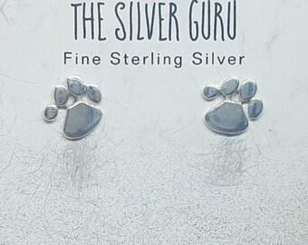 Sterling Silver Paw Stud Earrings