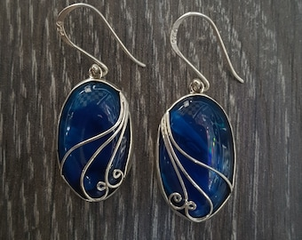 Abalone Shell with Blue Resin & Sterling Silver Ornate Oval Earrings