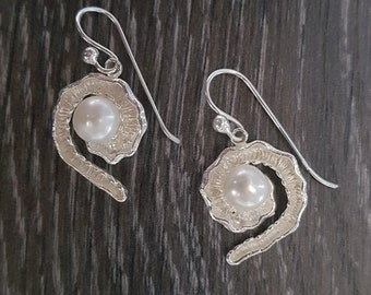 Freshwater Pearl & Sterling Silver Fancy Swirl Earrings