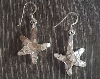 Mother of Pearl & Sterling Silver Mosaic Starfish Earrings