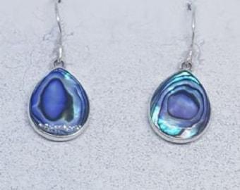 Abalone Shell & Mother of Pearl Double Sided Sterling Silver Teardrop Earrings