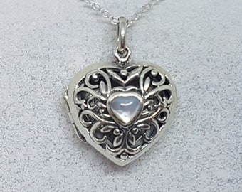 Mother of Pearl & Sterling Silver Heart Locket Necklace