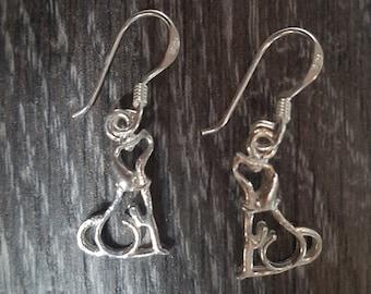 Sterling Silver Cute Dog Earrings
