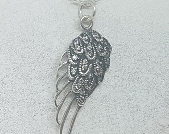 Sterling Silver & Cubic Zirconia Angel Wing Necklace