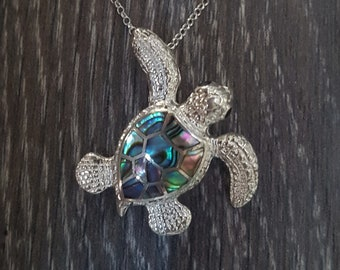Abalone Shell & Sterling Silver Turtle Pendant