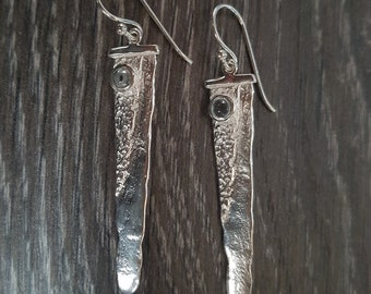 Sterling Silver Contemporary Moonstone Earrings