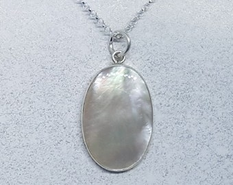 Mother of Pearl & Sterling Silver Oval Necklace