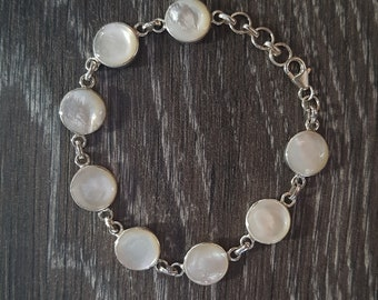 Mother of Pearl & Sterling Silver Adjustable Round Bracelet