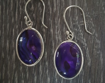 Abalone Shell with Purple Resin & Sterling Silver Oval Earrings