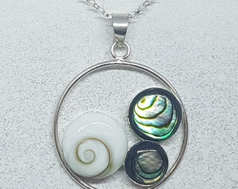 Shiva Eye with Abalone Shell & Sterling Silver Disk Necklace