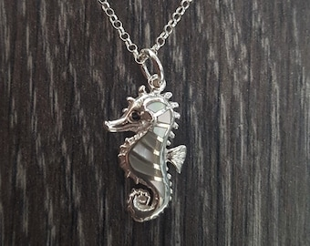 Mother of Pearl & Sterling Silver Seahorse Necklace