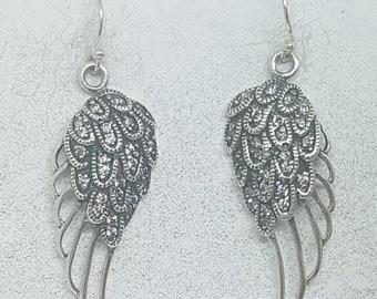 Sterling Silver & Cubic Zirconia Angel Wing Earrings