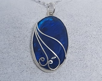 Abalone Shell with Blue Resin & Sterling Silver Ornate Oval Necklace