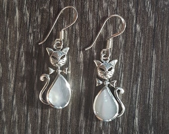 Mother of Pearl & Sterling Silver Cat Earrings