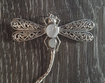 Mother of Pearl & Sterling Silver Dragonfly Brooch