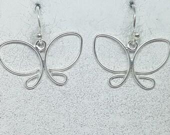 Sterling Silver Wire Butterfly Earrings