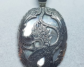 Mother of Pearl & Sterling Silver Dragon Necklace