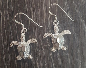 Mother of Pearl & Sterling Silver Turtle Earrings