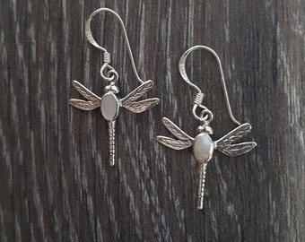 Mother of Pearl & Sterling Silver Dragonfly Earrings