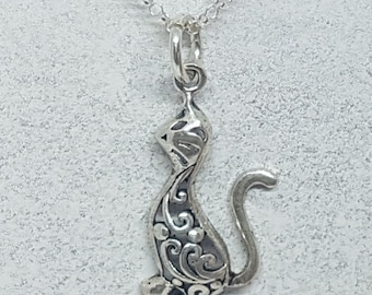 Sterling Silver Ornate Cat Necklace