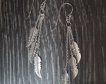 Sterling Silver Multi Feather Drop Earrings