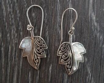 Mother of Pearl & Sterling Silver Ornate Leaf Earrings