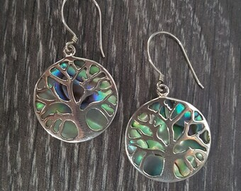 Abalone Shell & Sterling Silver Overlay Tree of Life Earrings