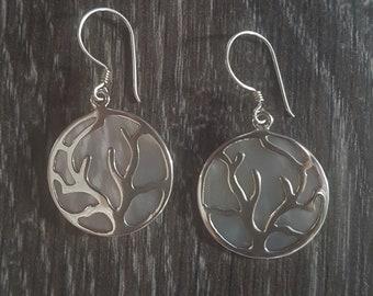 Mother of Pearl & Sterling Silver Flowing Tree Disk Earrings