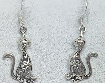 Sterling Silver Ornate Cat Earrings
