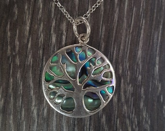 Abalone Shell & Sterling Silver Overlay Tree of Life Pendant