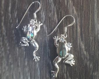 Abalone Shell & Sterling Silver Frog Earrings