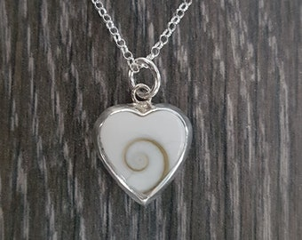Shiva Eye & Sterling Silver Heart Inlay Pendant