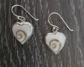 Shiva Eye & Sterling Silver Heart Inlay Earrings