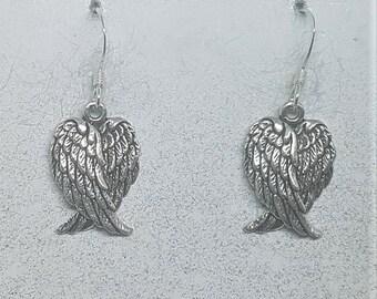 Sterling Silver Double Angel Wing Earrings