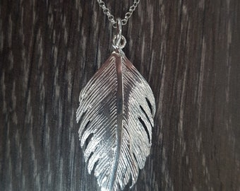Sterling Silver Brushed Feather Necklace