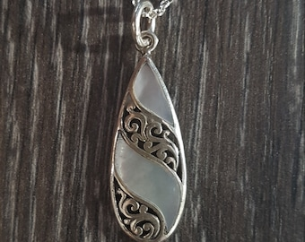 Mother of Pearl & Sterling Silver Striped Teardrop Necklace