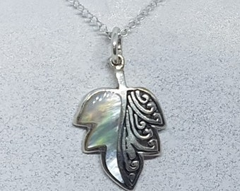 Mother of Pearl & Sterling Silver Ornate Leaf Necklace