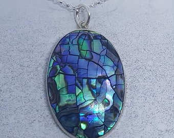 Abalone Shell with Sterling Silver Crackled Effect Necklace
