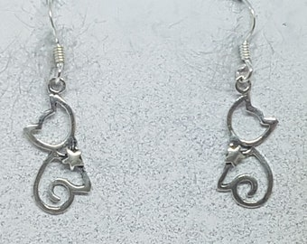 Sterling Silver Cute Cat Earrings
