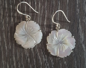 Mother of Pearl & Sterling Silver Carved Flower Earrings